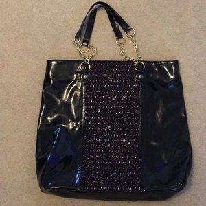 Betsy Johnson patent leather w/tweed shoulder bag